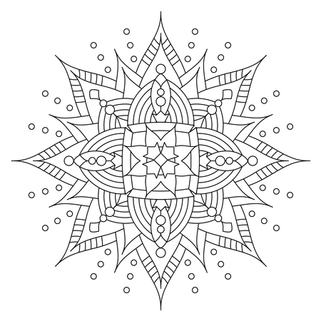 coloring sheet: Abstract mandala or whimsical snowflake line art design or coloring page