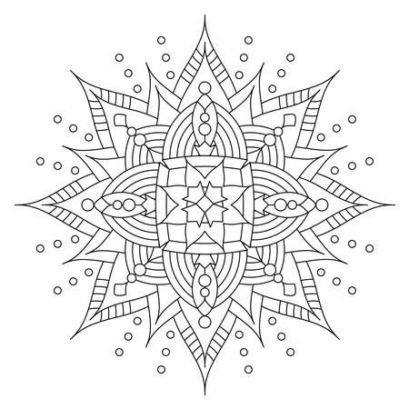 Abstracte mandala of grillige sneeuwvlok lijntekeningen ontwerp of kleurplaat
