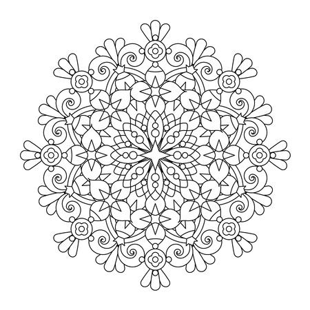 抽象的な曼荼羅または気まぐれなスノーフレーク ライン アート デザインまたは着色ページ