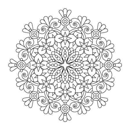 Abstract mandala or whimsical snowflake line art design or coloring page