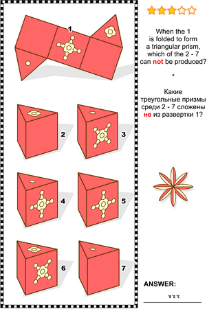 produced: Visual math puzzle (suitable both for kids and adults): When the 1 is folded to form a triangular prism, which of the 2 - 7 can not be produced? Answer included.