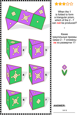 Visual math puzzle (suitable both for kids and adults): When the 1 is folded to form a triangular prism, which of the 2 - 7 can not be produced? Answer included.