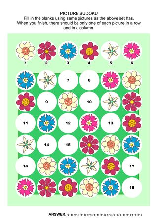 flowerhead: Picture sudoku puzzle 6x6 (one block) with flower heads. Answer included.