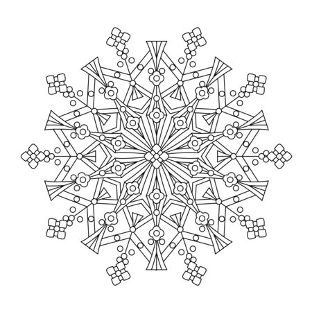child drawing: Abstract mandala or whimsical snowflake line art design or coloring page