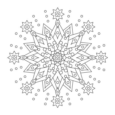 coloring sheets: Abstract mandala or whimsical snowflake line art design or coloring page