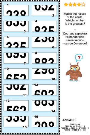 educativo: Rompecabezas visual: Coincidir las mitades de las tarjetas. ¿Qué número es el más grande? Respuesta contenida. Vectores