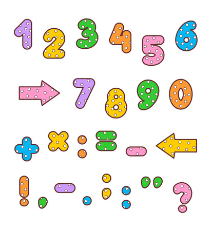 punctuation: Set of polka-dot patterned and outlined bold numbers, math signs and marks of punctuation of various colors.