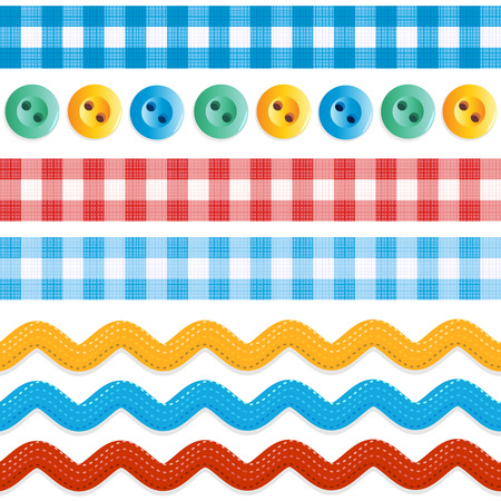 blue buttons: Design elements - seamless (repeatable) borders - red and blue gingham ribbons, ric rac tapes, and sewing buttons
