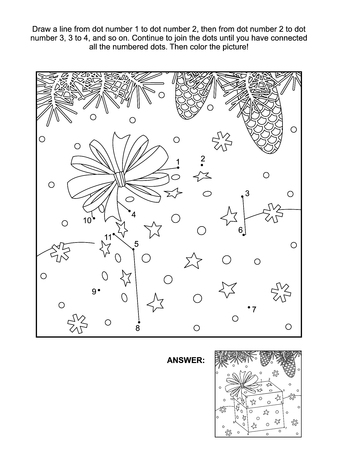 Winter, New Year or Christmas themed connect the dots picture puzzle and coloring page - gift box with a bow. Answer included.