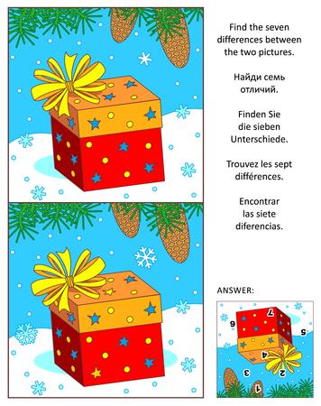Visuele puzzel Nieuwjaar of Kerstmis: zoek de zeven verschillen tussen de twee afbeeldingen van de aanwezige vakantie, dennenboomtakken en sneeuwvlokken. Antwoord inbegrepen.