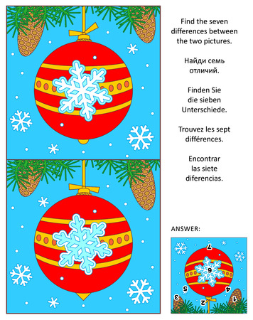 difference: New Year or Christmas visual puzzle: Find the seven differences between the two pictures of holiday bauble, fir tree branches and snowflakes. Answer included. Illustration