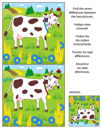 difference: Visual puzzle: Find the seven differences between the two pictures of spotted milk cow on the pasture. Answer included.