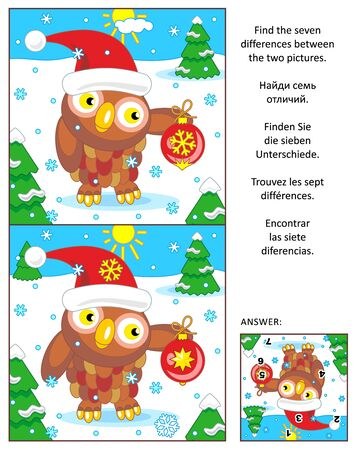 spot the difference: New Year or Christmas visual puzzle: Find the seven differences between the two pictures with owl wearing santa cap. Answer included.