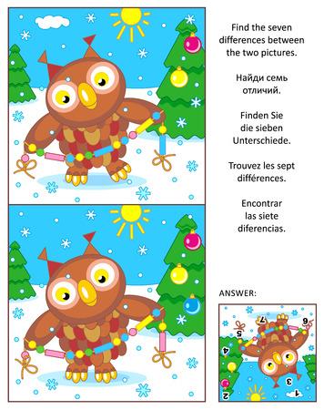 New Year of Kerstmis visueel raadsel: Zoek de zeven verschillen tussen de twee foto's met uil en glazen kralen Garland. Antwoord inbegrepen. Stock Illustratie
