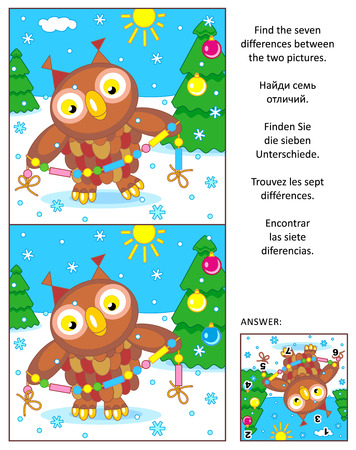 New Year or Christmas visual puzzle: Find the seven differences between the two pictures with owl and glass beads garland. Answer included.