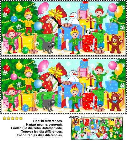 difference: Christmas or New Year visual puzzle: Find the ten differences between the two pictures of elves waiting for Santa to show their work done. Answer included.