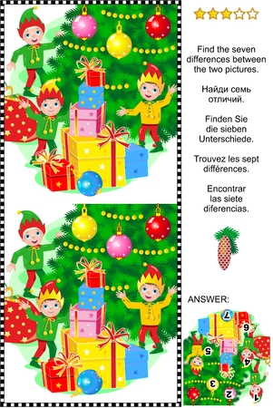 difference: Christmas or New Year visual puzzle: Find the 7 differences between the two pictures of elves and gifts nearby the christmas tree. Answer included. Illustration
