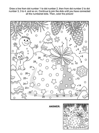santas sack: New Year or Christmas themed connect the dots picture puzzle and coloring page with Santas sack. Answer included. Illustration