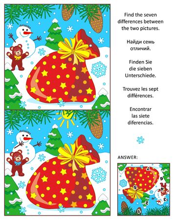 santas sack: New Year or Christmas visual puzzle: Find the seven differences between the two pictures with Santas sack. Answer included.