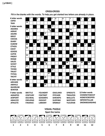 crisscross: Puzzle page with two puzzles: 19x19 criss-cross word game (English language) and visual puzzle with whimsical faces. Black and white, A4 or letter sized. Answers are on separate file named p19646.
