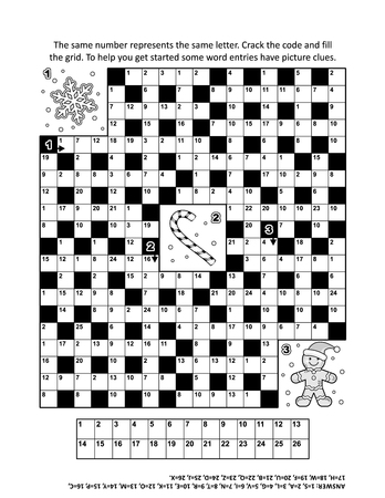 breaker: Puzzle page with winter holiday themed codebreaker (or codeword, or code cracker) word game. Answer included.