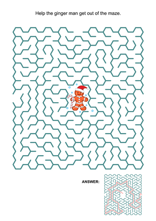 Maze game: Help ginger man get out of the maze. Answers included.