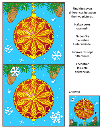 spot the difference: New Year or Christmas holiday visual puzzle: Find the seven differences between the two pictures with decorated red ball ornament. Answer included. Illustration