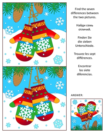 between: Winter, New Year or Christmas visual puzzle: Find the seven differences between the two pictures with colorful mittens (may be, Santas). Answer included.