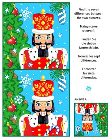 difference: New Year or Christmas visual puzzle: Find the seven differences between the two pictures of nutcracker, christmas tree, baubles, falling snow. Answer included.