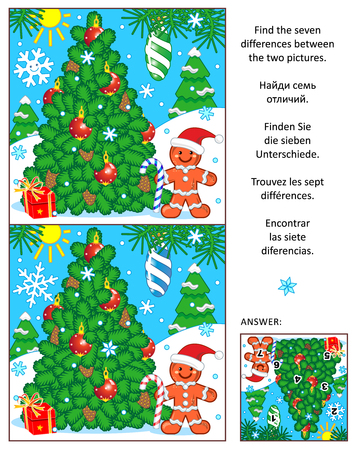 difference: New Year or Christmas visual puzzle: Find the seven differences between the two pictures with christmas tree and ginger man. Answer included.