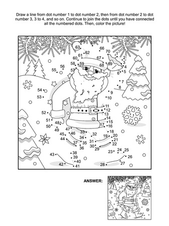 New Year or Christmas themed connect the dots picture puzzle and coloring page with Santa delivering sack full of gifts and presents. Answer included. Иллюстрация