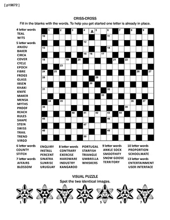 brainteaser: Puzzle page with two puzzles: 19x19 criss-cross word game (English language) and visual puzzle with whimsical shapes. Black and white, A4 or letter sized. Answers are on separate file named p19674.
