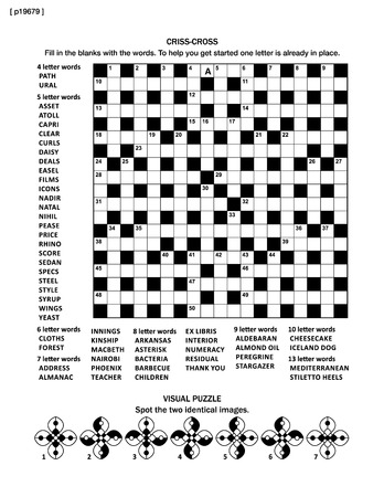 esl: Puzzle page with criss-cross word game (English language) and visual puzzle. Black and white, A4 or letter sized.