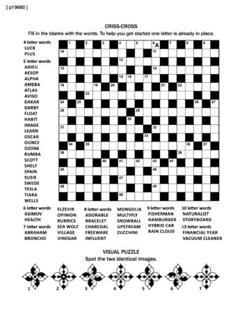 leisure activity: Puzzle page with criss-cross word game (English language) and visual puzzle. Black and white, A4 or letter sized.