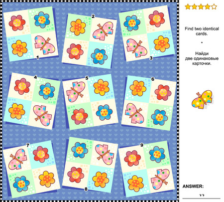 flowerhead: Visual logic puzzle spring or summer themed: Find the two identical cards with flowers and butterflies. Answer included. Illustration
