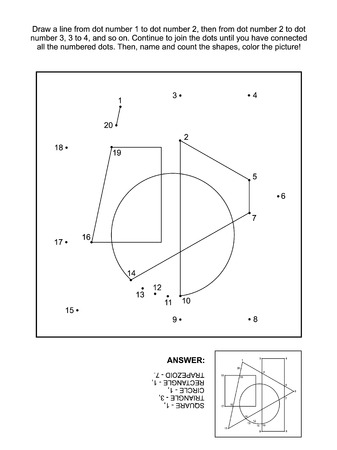 Math themed connect the dots picture puzzle and coloring page with basic shapes: Join the dots, name and count the shapes, color the picture. Answer included.