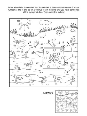 the sprouting: Spring and gardening themed connect the dots picture puzzle and coloring page with watering can and young sprouts. Answer included. Illustration
