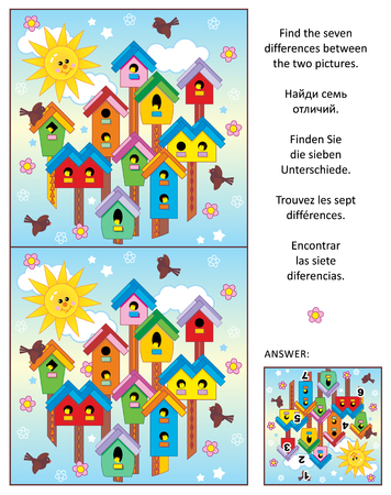Spring is in the air! Visual puzzle: Find the seven differences between the two pictures of colorful birdhouses, birds and nestlings. Stock Illustratie