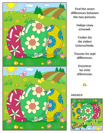 Visuele puzzel: Vind de zeven verschillen tussen de twee foto's met geschilderde eieren en landelijke scene. Antwoord inbegrepen.