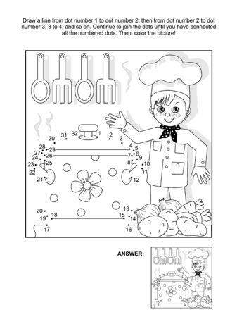 Jonge chef-kok in de keuken verbinden de puntjes foto puzzel en kleurplaat. Antwoord inbegrepen.