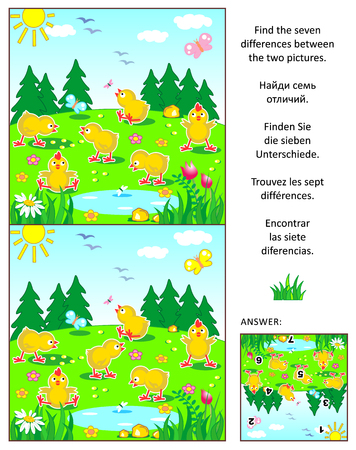 Spring, Easter or summer visual puzzle: Find the seven differences between the two pictures with happy playful chicks feeding outdoor. Answer included. Illustration