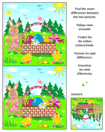 spot the difference: Easter themed visual puzzle: Find the seven differences between the two pictures with bunny, painted eggs