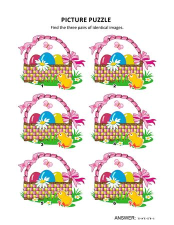 fresh flowers: Easter themed visual puzzle with baskets, painted eggs, chicks, fresh geen grass, flowers and butterflies: Find the three pairs of identical images. Answer included.
