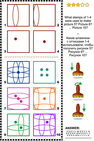 brainteaser: IQ training abstract visual puzzle: What stamps of 1-4 were used to make picture 5? Picture 6? ... Picture 10? Answer included. Illustration