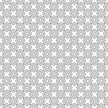 Seamless elegant pattern, black and white thin line abstract geometric concentric octagons