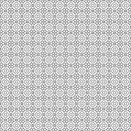 Seamless filler pattern (you see 9 tiles), black and white thin line abstract geometric and floral