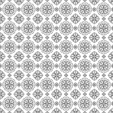 Seamless filler pattern (you see 9 tiles), black and white thin line abstract geometric quasi old eastern, easy to color
