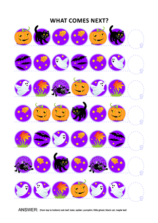 themed: Halloween themed educational logic game training sequential pattern recognition skills: What comes next in the sequence? Answer included.