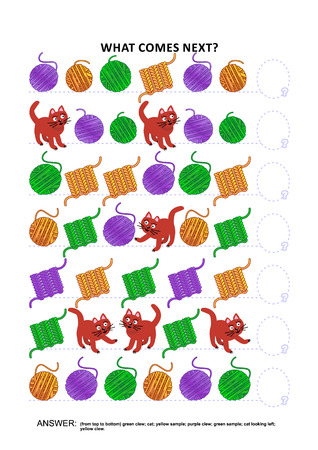 themed: Knitting hobby or craft themed educational logic game training sequential pattern recognition skills: What comes next in the sequence? Answer included. Illustration