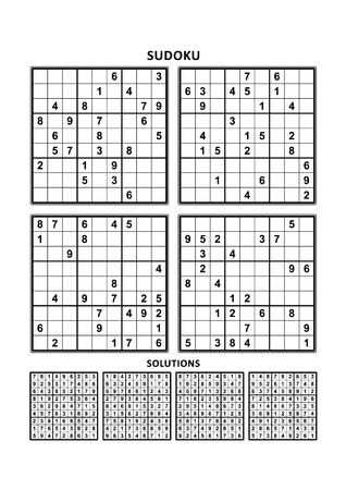 Four sudoku puzzles of comfortable (easy, yet not very easy) level, on A4 or Letter sized page with margins, suitable for large print books, answers included Иллюстрация